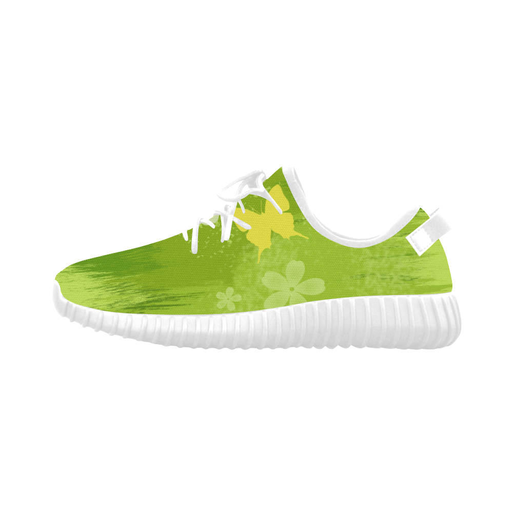 Green Jungle Vegan Butterfly Flowers Painting Grus Women's Breathable Woven Running Shoes (Model 022)