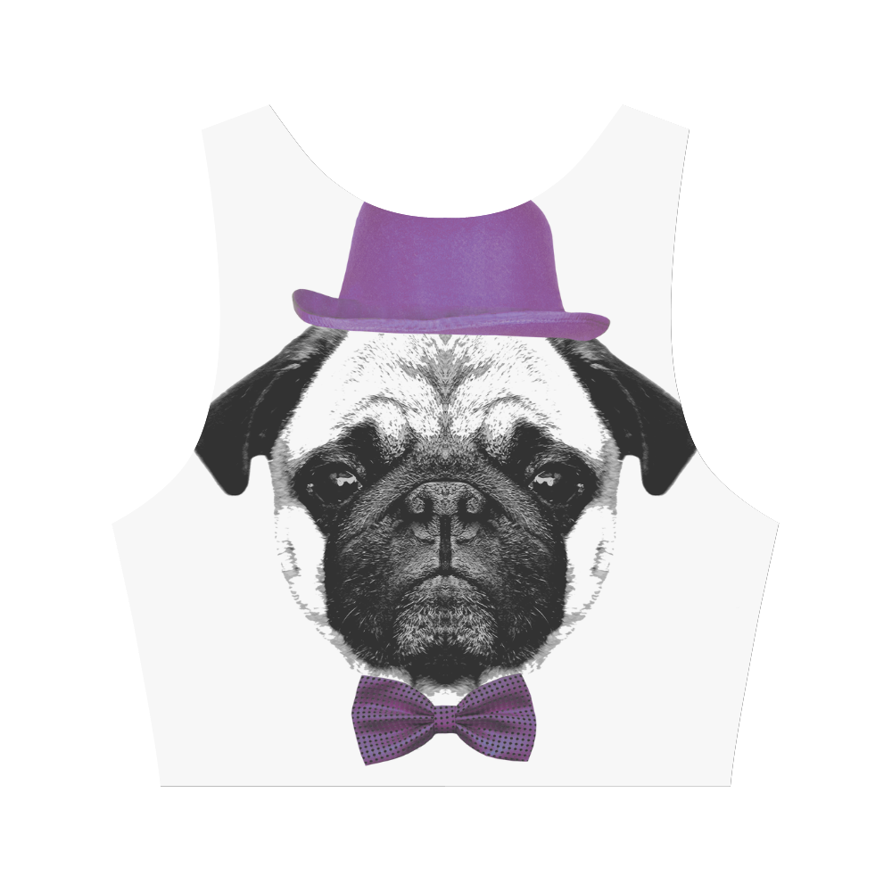 MOPS PUPPY FRENCH BULLDOG Women's Crop Top (Model T42)