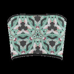 Zandine 0206 vintage green floral pattern Bandeau Top