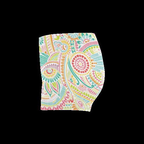 zz0101 pink hippie flower watercolor pattern Briseis Skinny Shorts (Model L04)
