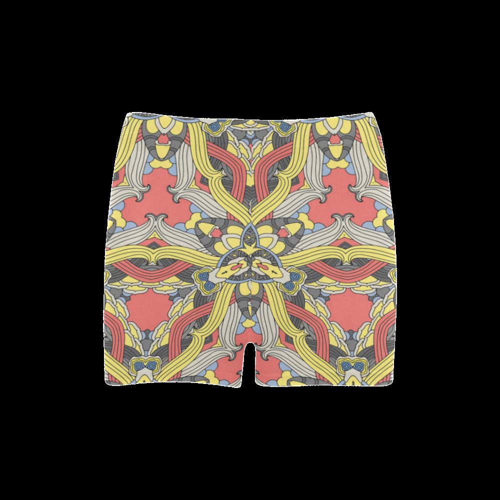 Zandine 0201 pink yellow vintage floral pattern Briseis Skinny Shorts (Model L04)