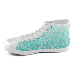 Ombre turquoise blue and white swirls doodles Women's High Top Canvas Shoes (Model 002)
