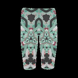 Zandine 0206 vintage green floral pattern Hestia Cropped Leggings (Model L03)