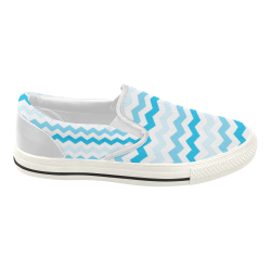 Blue Chevron Pattern Zig Zag Women's Slip-on Canvas Shoes (Model 019)