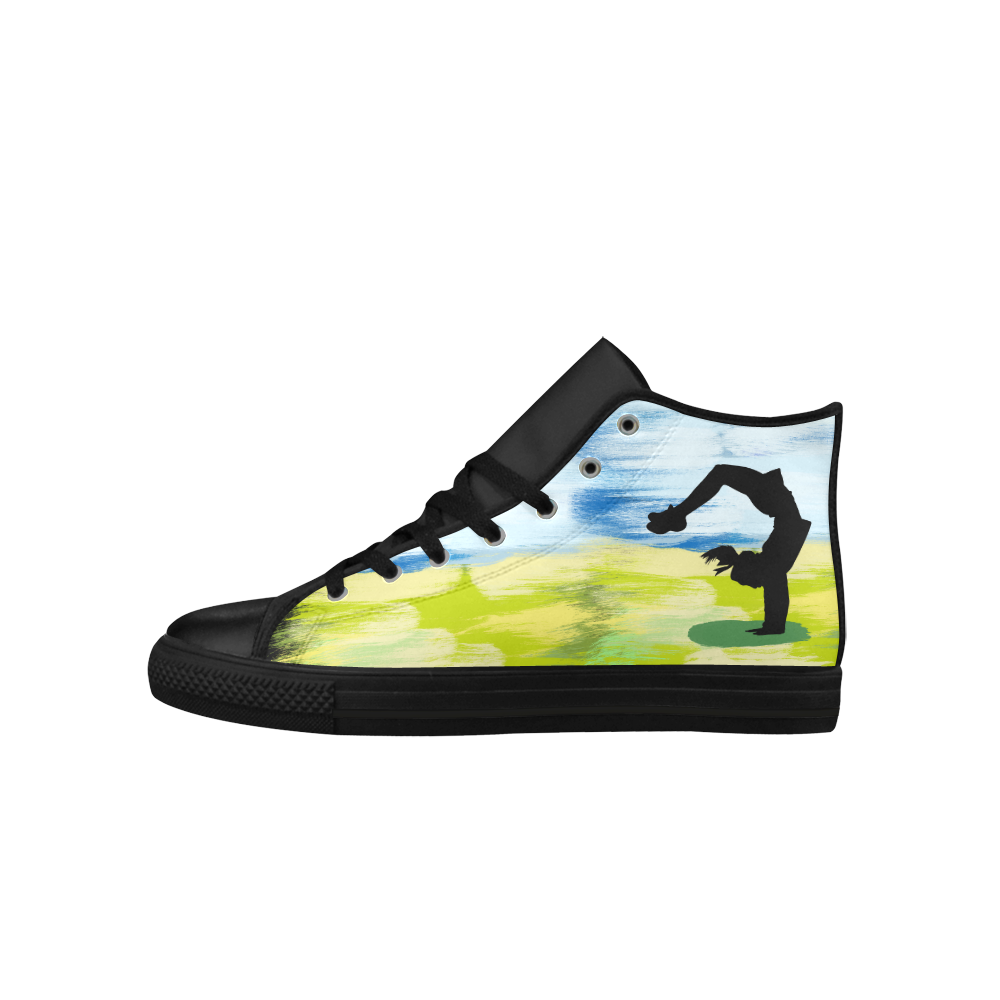 Girl Woman Handspring Painting Colorful Shape Aquila High Top Microfiber Leather Women's Shoes (Model 027)