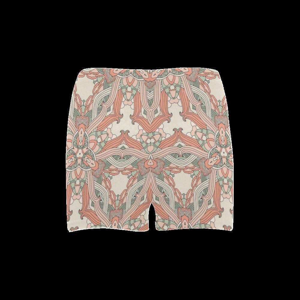 Zandine 0205 vintage floral pattern Briseis Skinny Shorts (Model L04)