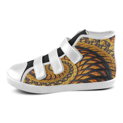 Spiral Yellow and Black Staircase Fractal Velcro High Top Canvas Kid's Shoes (Model 015)