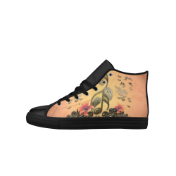 Wonderful key notes with floral elements Aquila High Top Microfiber Leather Women's Shoes (Model 027)