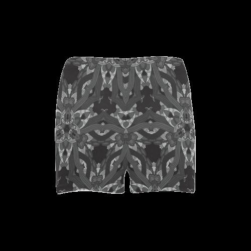 Zandine 0206 dark vintage floral pattern Briseis Skinny Shorts (Model L04)