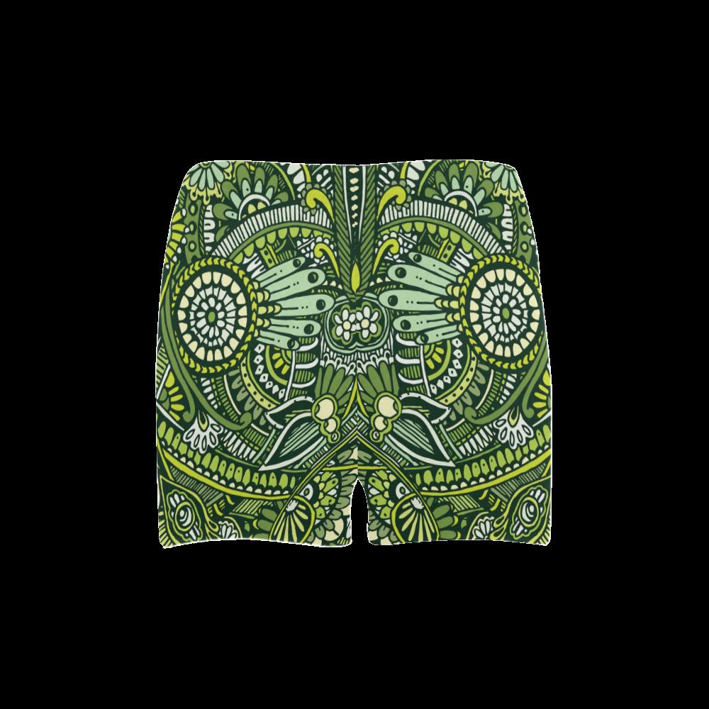 zz0105  green hippie flower whimsical pattern Briseis Skinny Shorts (Model L04)
