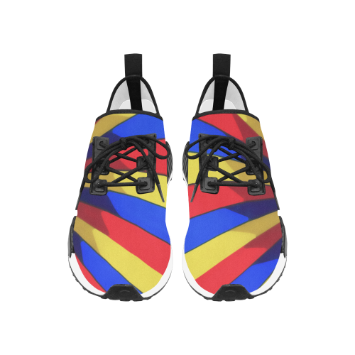 Stripes Yellow Blue Red Women's Draco Running Shoes (Model 025)