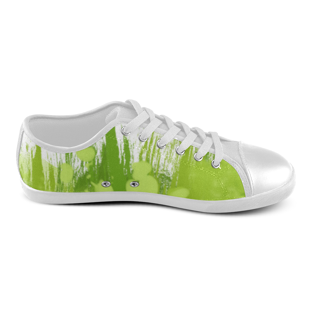 Colorful Green Splash Painting Women's Canvas Shoes (Model 016)