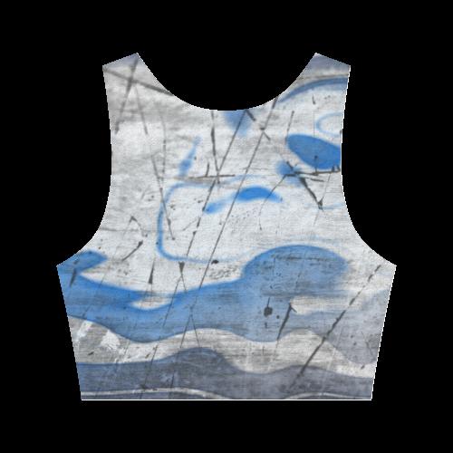 WATERCOLOR GRAFFITI Women's Crop Top (Model T42)