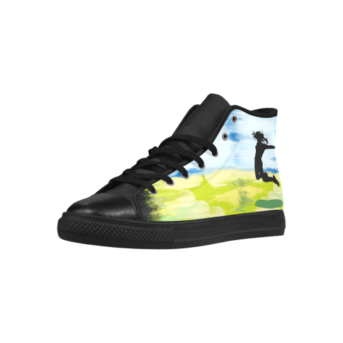 Girl Woman Jump Sky Colorful Painting Shape Aquila High Top Microfiber Leather Women's Shoes (Model 027)