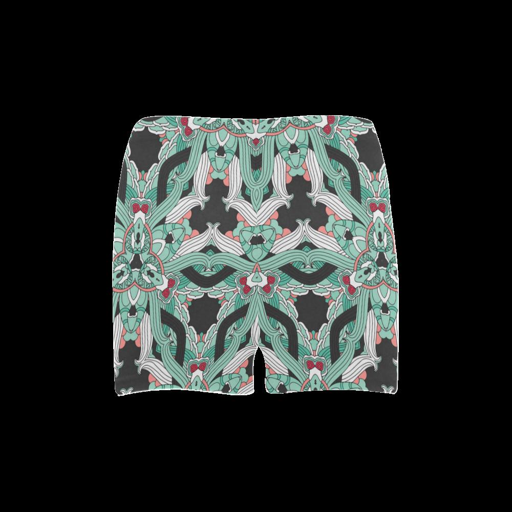 Zandine 0206 vintage green floral pattern Briseis Skinny Shorts (Model L04)