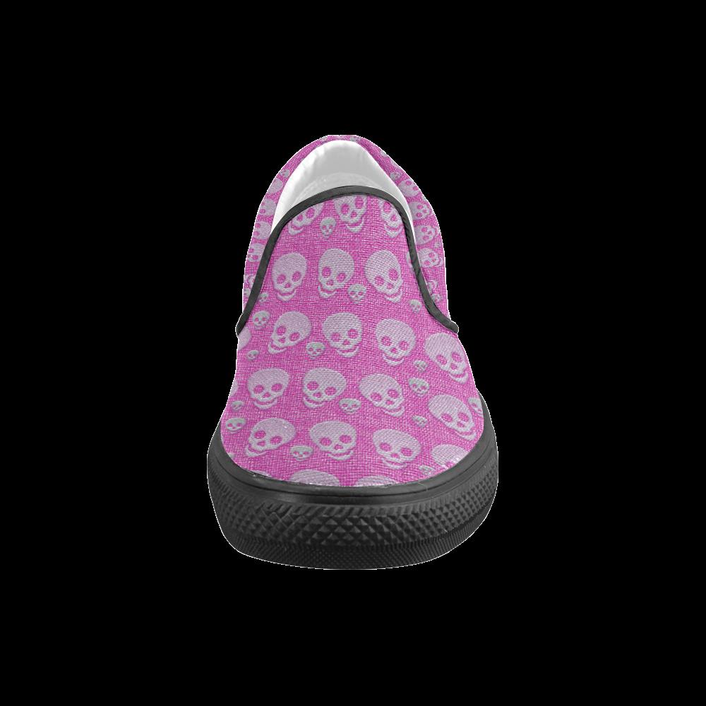 SKULLS PINKY Women's Unusual Slip-on Canvas Shoes (Model 019)