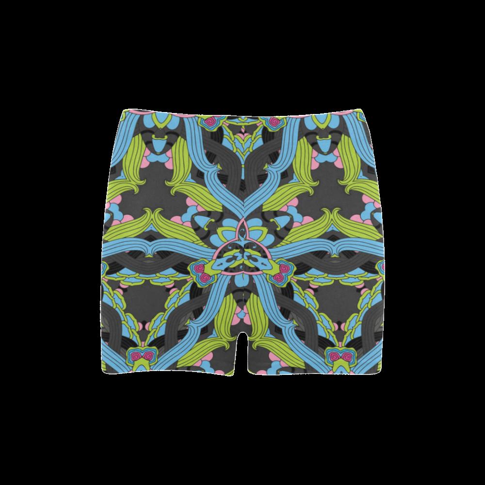 Zandine 0202 blue green floral pattern Briseis Skinny Shorts (Model L04)