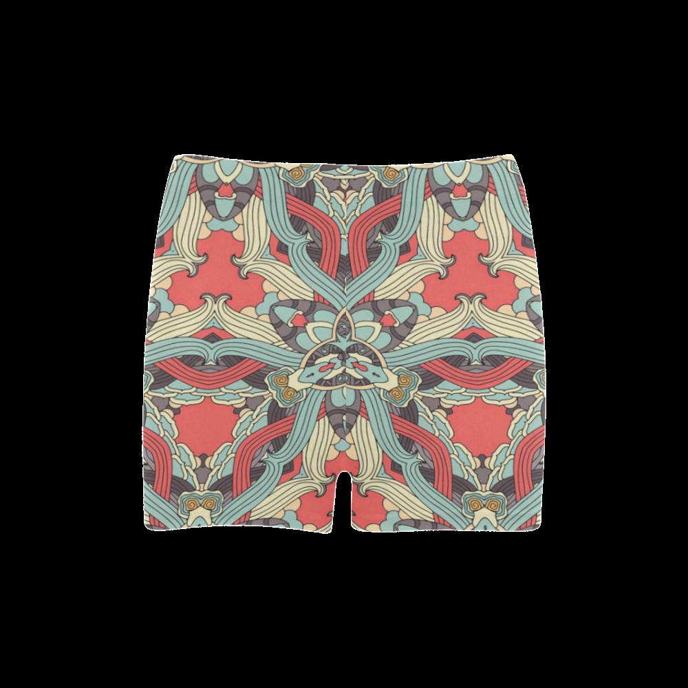 Zandine 0203 pink blue vintage floral pattern Briseis Skinny Shorts (Model L04)