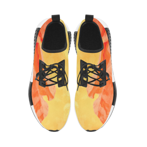 Poppy Summer Red Gold Art Design Women's Draco Running Shoes (Model 025)