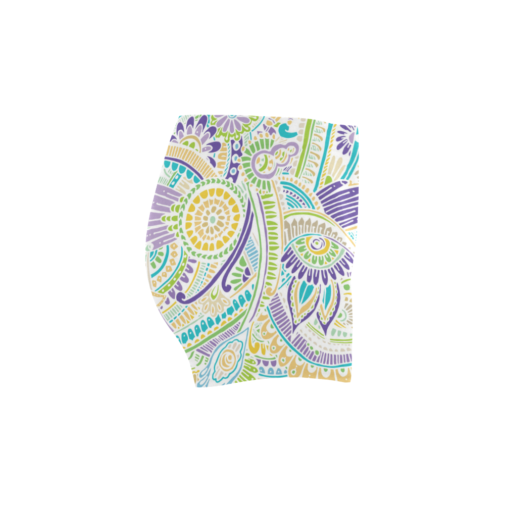 zz0104 purple green watercolor flower pattern Briseis Skinny Shorts (Model L04)