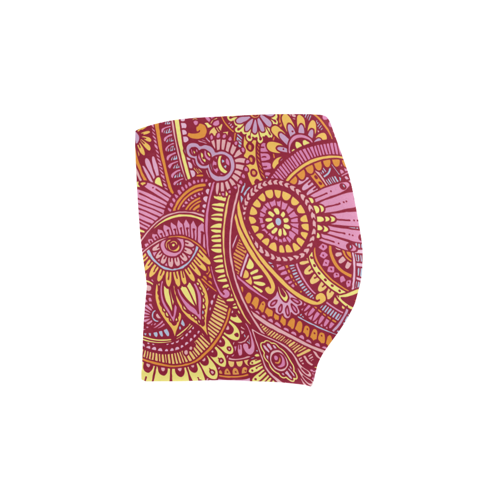 zz0106 floral pink hippie flower whimsical pattern Briseis Skinny Shorts (Model L04)