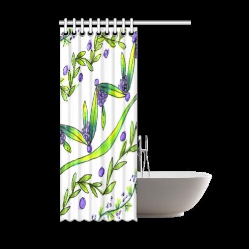 "Dancing Greeen, Purple Vines, Grapes Zendoodle Shower Curtain 48""x72"""