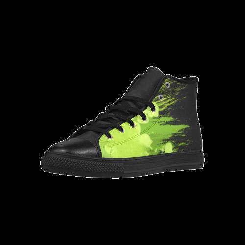 Colorful Green Splash Aquila High Top Microfiber Leather Women's Shoes (Model 027)