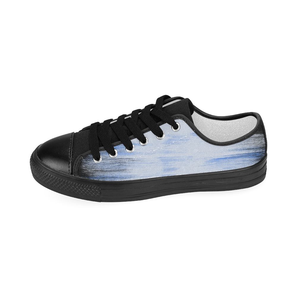 Cool Fresh Blue Painting Women's Classic Canvas Shoes (Model 018)
