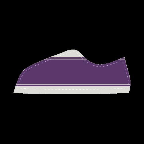 Lilac White Ribbon Design Women's Canvas Shoes (Model 016)