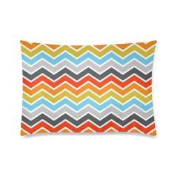 "Vintage Orange, Red, Blue, Pink, Gray Chevron Custom Zippered Pillow Case 20""x30""(Twin Sides)"
