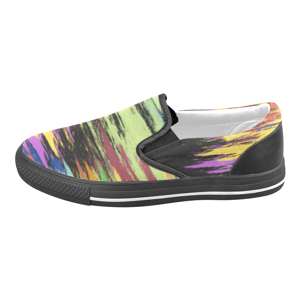 Colorful Painting Women's Unusual Slip-on Canvas Shoes (Model 019)
