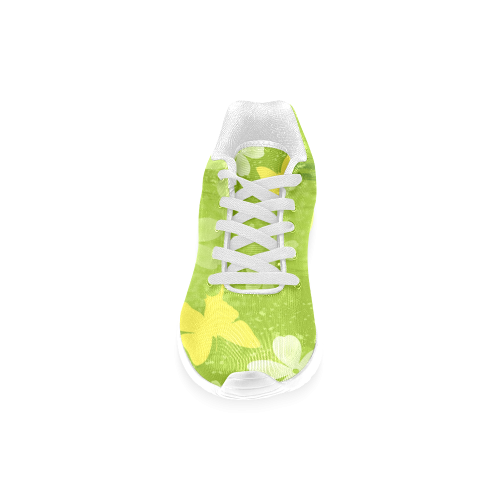Green Jungle Flowers Painting Women's Running Shoes (Model 020)