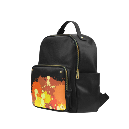 Summer Orange Yellow Splash Painting Campus backpack/Large (Model 1650)