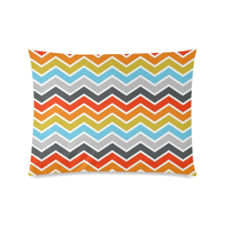 "Vintage Orange, Red, Blue, Pink, Gray Chevron Custom Zippered Pillow Case 20""x26""(Twin Sides)"