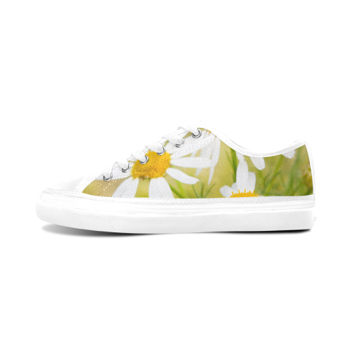 Camomile Chamomile Camille Flower Summer Green Women's Canvas Zipper Shoes (Model 001)