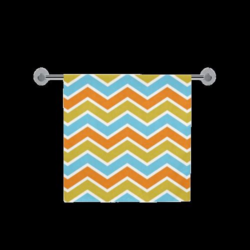 "Retro Orange and Blue Chevron Bath Towel 30""x56"""