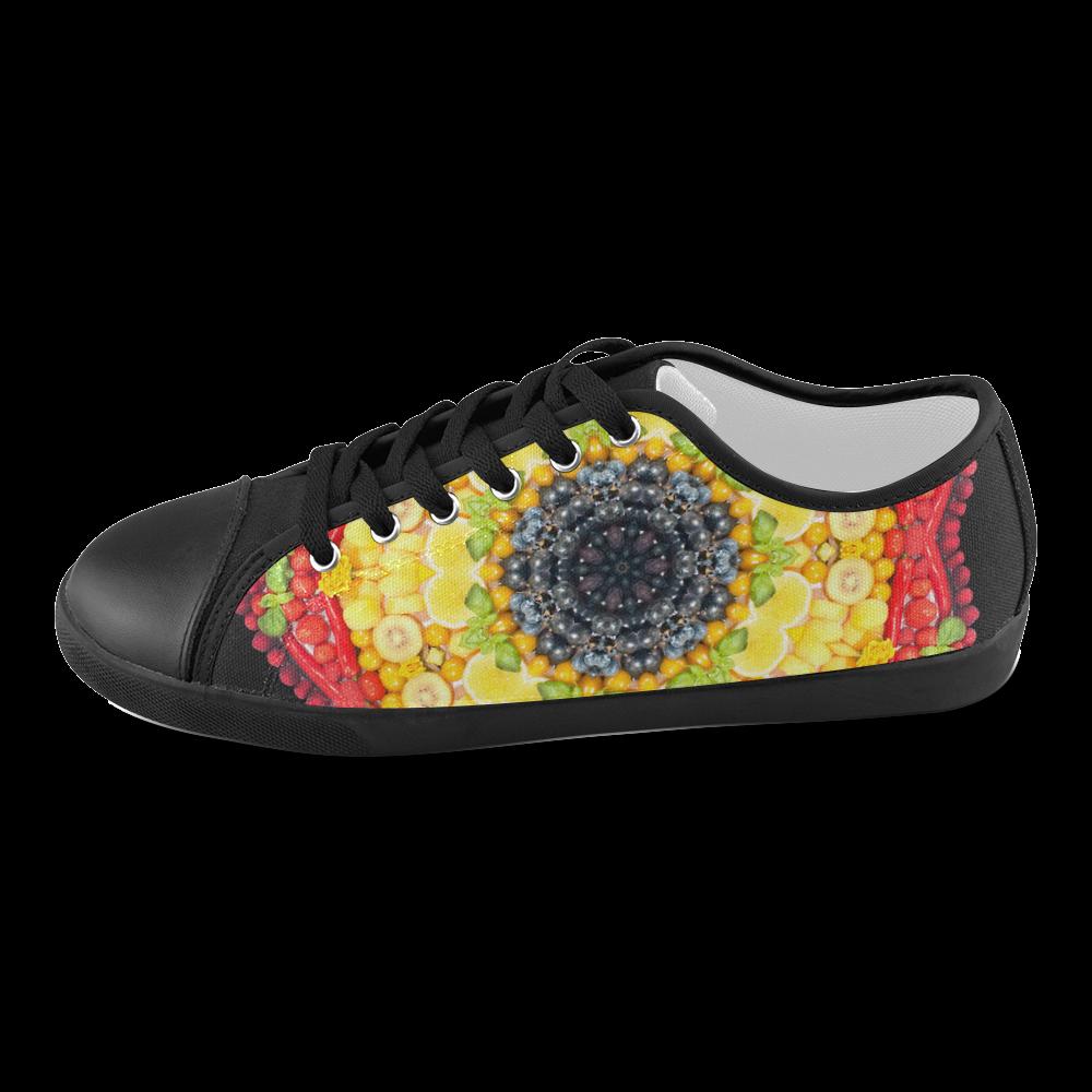 Star Mandala Fruits Vegetables Vegan Women's Canvas Shoes (Model 016)