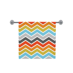 "Vintage Orange, Red, Blue, Pink, Gray Chevron Bath Towel 30""x56"""