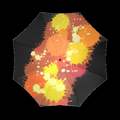 Summer Orange Yellow Splash Painting Foldable Umbrella (Model U01)