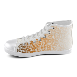 Ombre orange and white swirls doodles Men's High Top Canvas Shoes (Model 002)