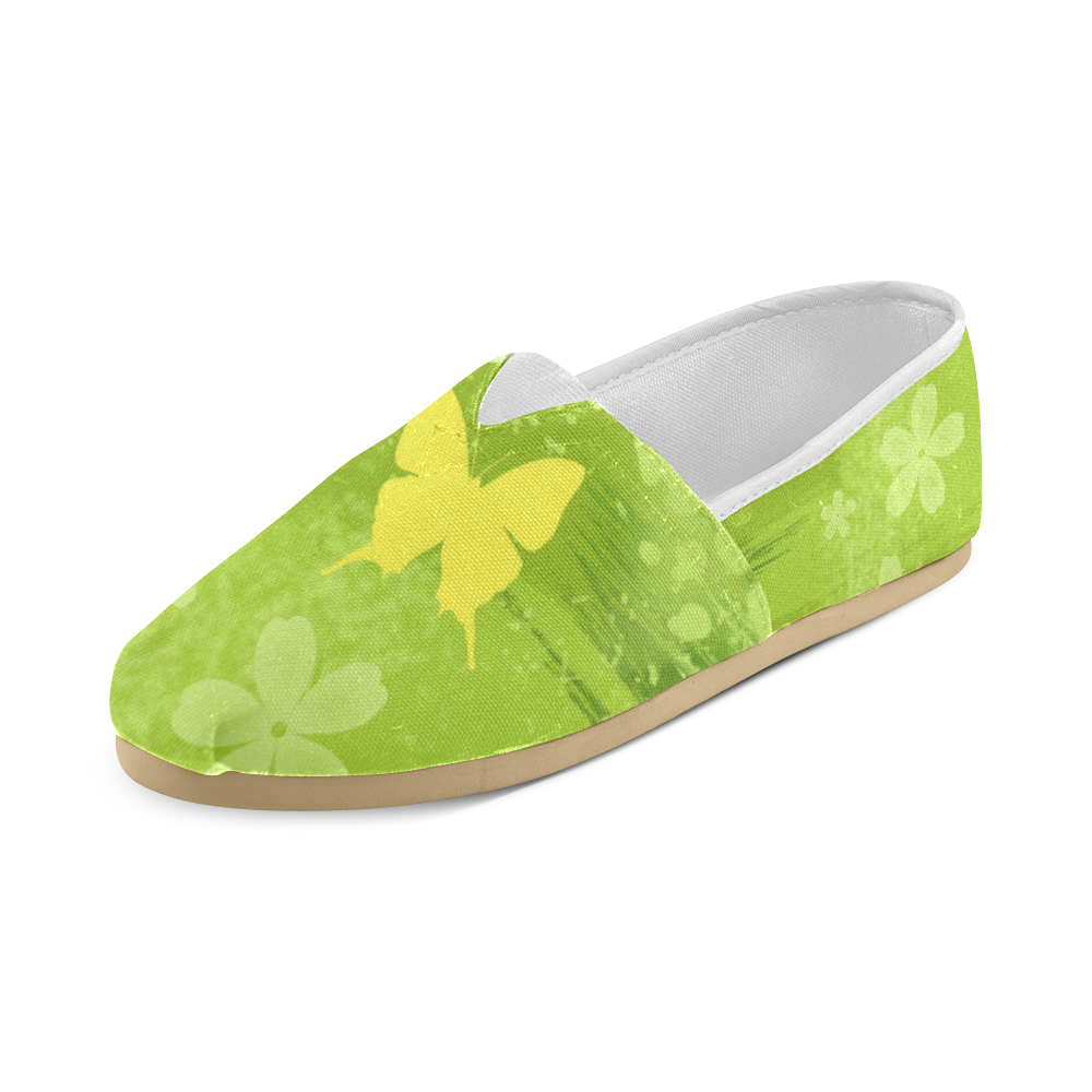 Green Jungle Vegan Butterfly Flowers Painting Unisex Casual Shoes (Model 004)