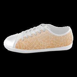Ombre orange and white swirls doodles Men's Canvas Shoes (Model 016)