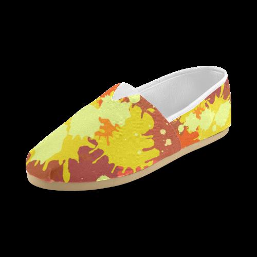 Summer Orange Yellow Splash Painting Unisex Casual Shoes (Model 004)