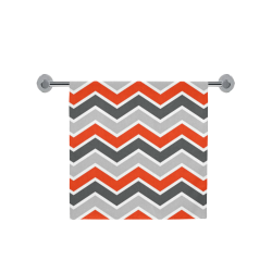 "Gray and Red Chevron Bath Towel 30""x56"""