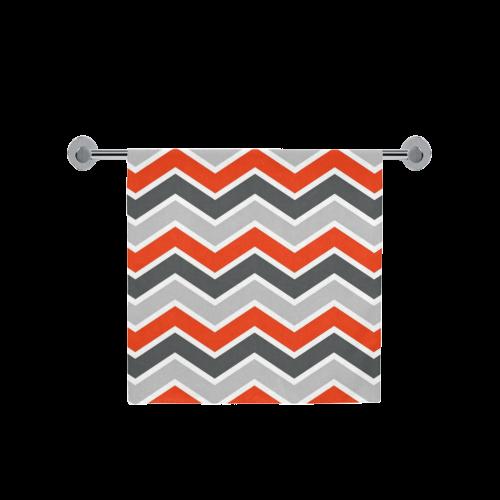 "Gray and Red Chevron Bath Towel 30""x56"""