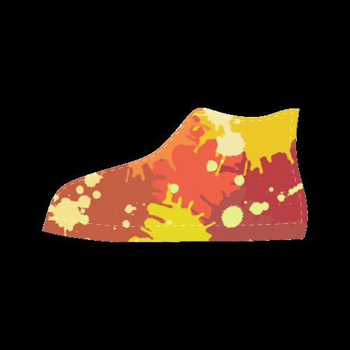 Summer Orange Yellow Splash Painting Aquila High Top Microfiber Leather Women's Shoes (Model 027)