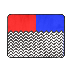 "HIPSTER zigzag chevron pattern black & white + blue & red backgr. Beach Mat 78""x 60"""