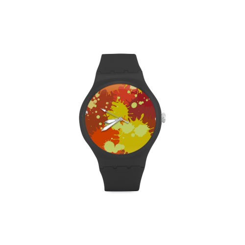 Summer Orange Yellow Splash Painting Unisex Round Rubber Sport Watch(Model 314)