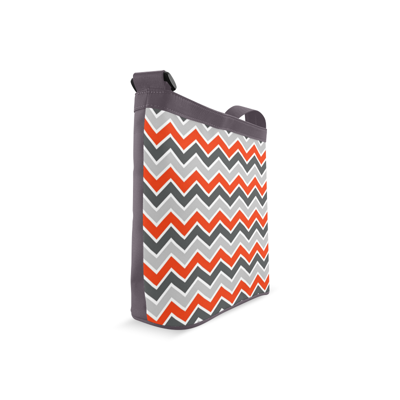 Gray and Red Chevron Crossbody Bags (Model 1613)