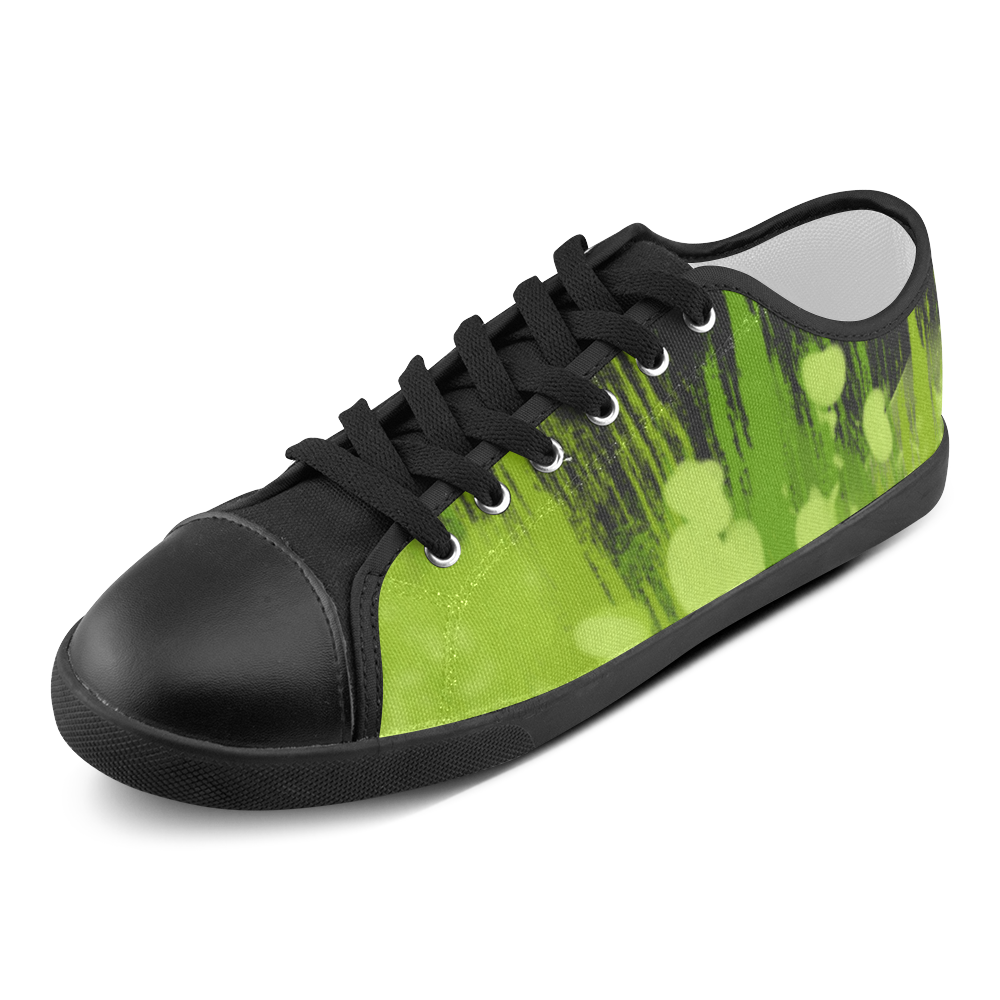 Colorful Green Spalsh Painting Women's Canvas Shoes (Model 016)
